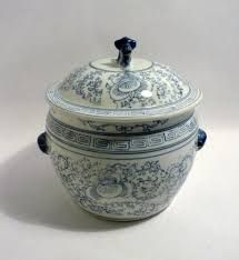 Image result for blue and white jars with lids