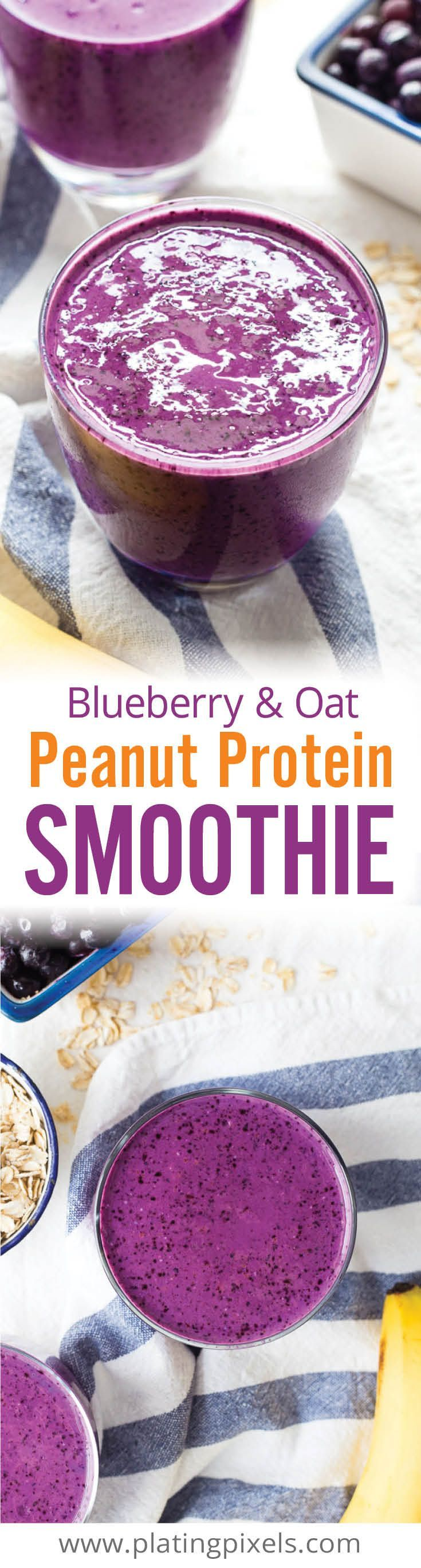 Quick and healthy gluten free breakfast smoothie with vegan option. Blueberry Peanut Butter Protein Smoothie with oats, almond milk, greek yogurt, banana and protein powder. Easy, thick and creamy breakfast smoothie that tastes like peanut butter and jelly! - www.platingpixels.com