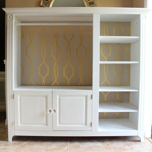 old tv stand converted into a closet