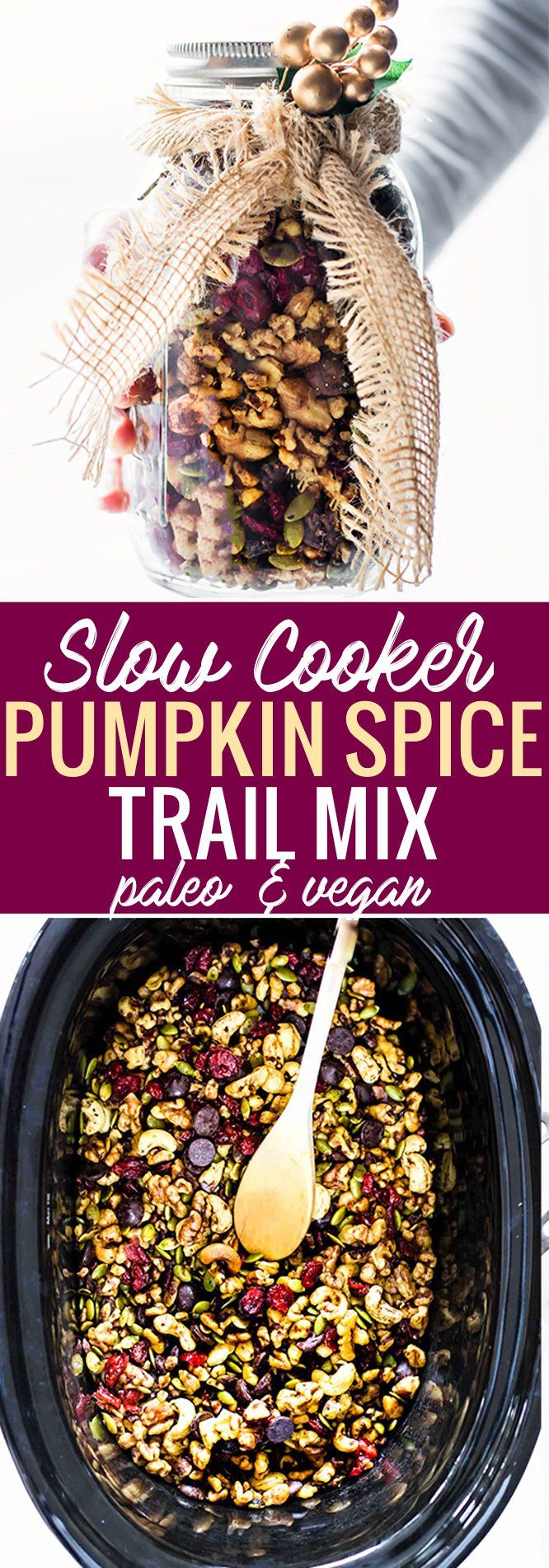 This pumpkin spice trail mix is not only easy to make in the slow cooker, but paleo and vegan friendly too! Dark chocolate, cocoa nibs, cranberries, Walnuts, pumpkin spice, and more! Great as a Holiday gift or for healthy snacking. Smells amazing, tastes amazing!