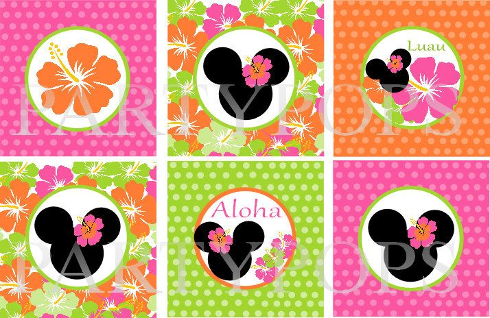 """Diy Minnie Mouse Luau Birthday Cupcake Toppers, 2"""" circles,  Minnie Mouse Luau Party Decoration, Printable, PDF,  INSTANT DOWNLOAD by PartyPops on Etsy https://www.etsy.com/listing/150088403/diy-minnie-mouse-luau-birthday-cupcake"""