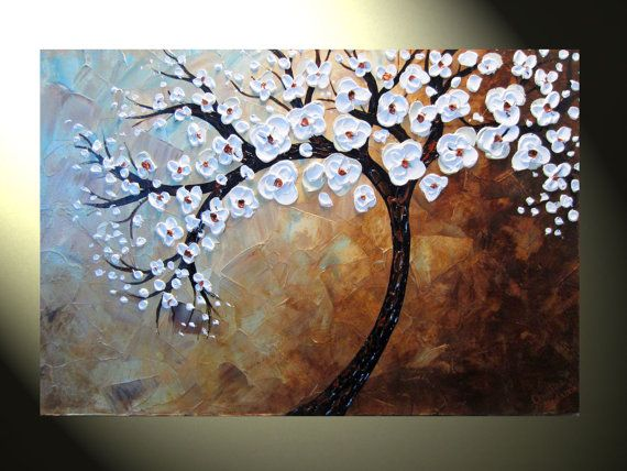 "Original Abstract Modern Palette Knife Tree Painting 24x36""  White Blossoming Tree of Life"