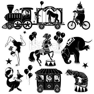 circus siloettes | circus characters Royalty Free Stock Vector Art Illustration