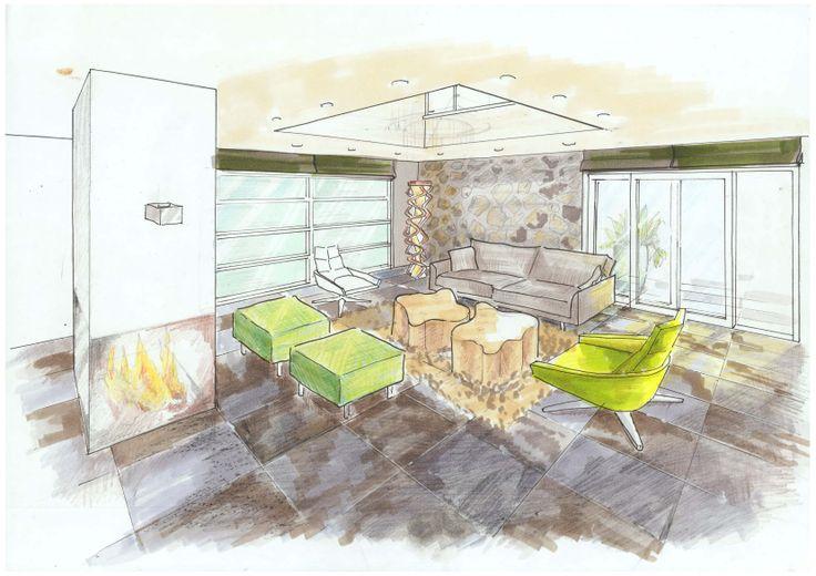 3D sfeertekening bungalow door Ridesign. Vrij ontwerp door Ria Bernards