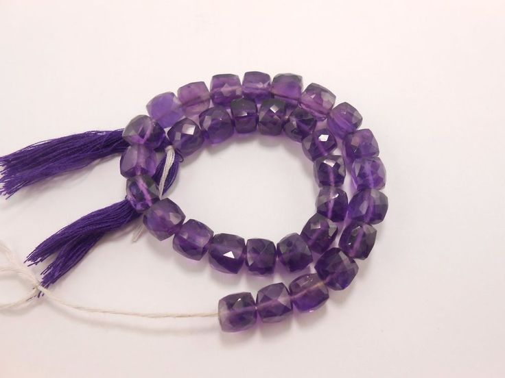 32 Pcs Genuine Amethyst faceted cube briolette beads 6.5mm-7mm blue square beads #GemstoneTopper