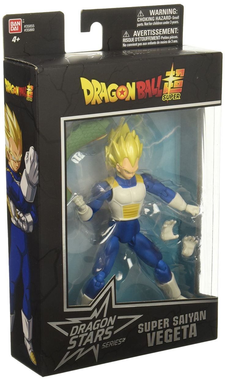 "Dragon Ball Super - Dragon Stars Super Saiyan Vegeta Figure (Series 1). The Dragon Stars Series is comprised of highly detailed and articulated figures from Dragon Ball Super. Standing tall at 6.5"", having 16 or more points of articulation, and a set of additional hands, these figures can be posed in over 9,000 positions. Characters in Series 1 includes: Super Saiyan Goku, Vegeta, Beerus, Super Saiyan Vegeta, Frieza, and Goku. Each figure also includes a buildable piece that can be…"