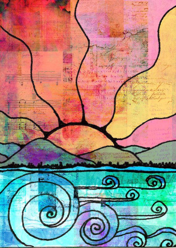 Oceaan schilderij, ik hou van de zee afdrukken golven schilderij Zee schilderij Oceaan hand verfraaid gedrukte mixed media schilderij schilderen