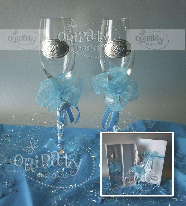 Copas decoradas para Boda Playera Elegante