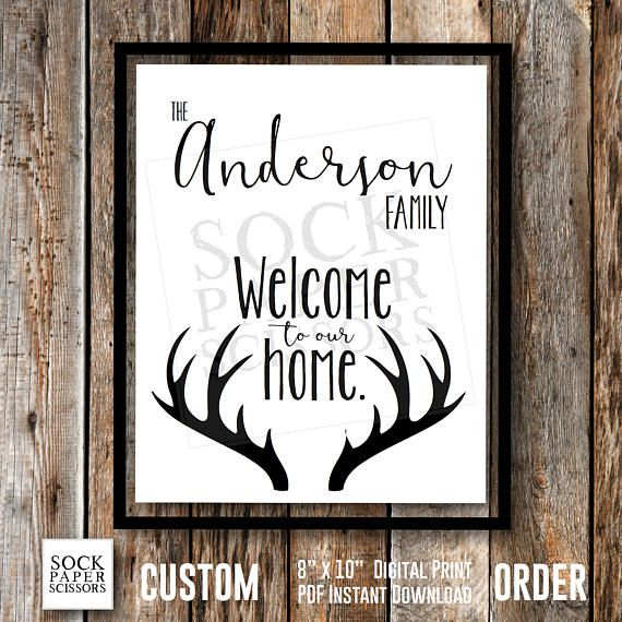 Custom Order Welcome to our home. Family Name Sign with Deer Antlers - by Sock Paper Scissors on Etsy - Would make an excellent housewarming, anniversary, wedding, birthday, mother's day, father's day gift!