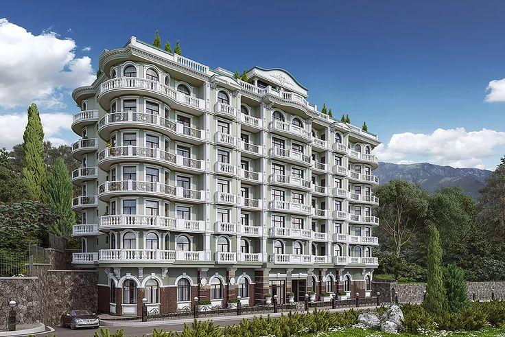 архитектурная 3d визуализация экстерьера, жилой комплекс с апартаментами