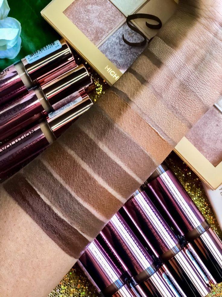 Makeup Revolution Conceal Define Concealer Swatches Dunkle Haut 🍫 #revolutionma …   – Makeup & Swatches