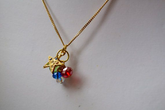 Gold Necklace with MultiColoured Star Charm and Crystals by dgowin, $25.00