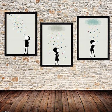 Colorfull Rain Cartoon Framed Canvas Print Set of 3 – GBP £ 58.39