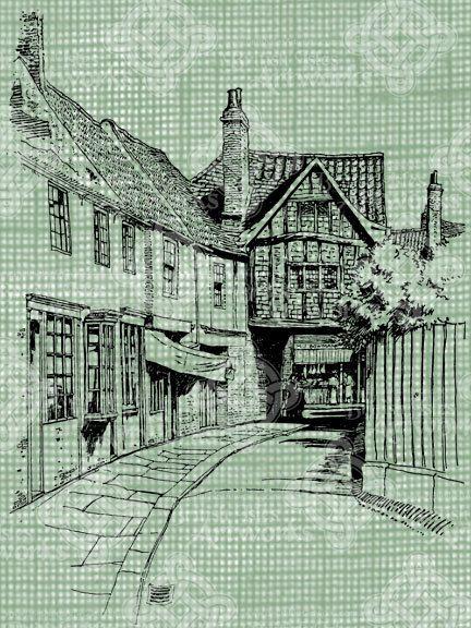 Digital Download York England City Street Scene Vintage drawing, UK, British City, Yorkshire, digi stamp, digis Antique Illustration