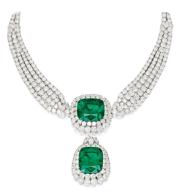 Diamond pendant necklace by Cartier - two emeralds weighing 44.42 and 42.40 carats and diamonds weighing 75 carats in platinum and 18 carat yellow gold