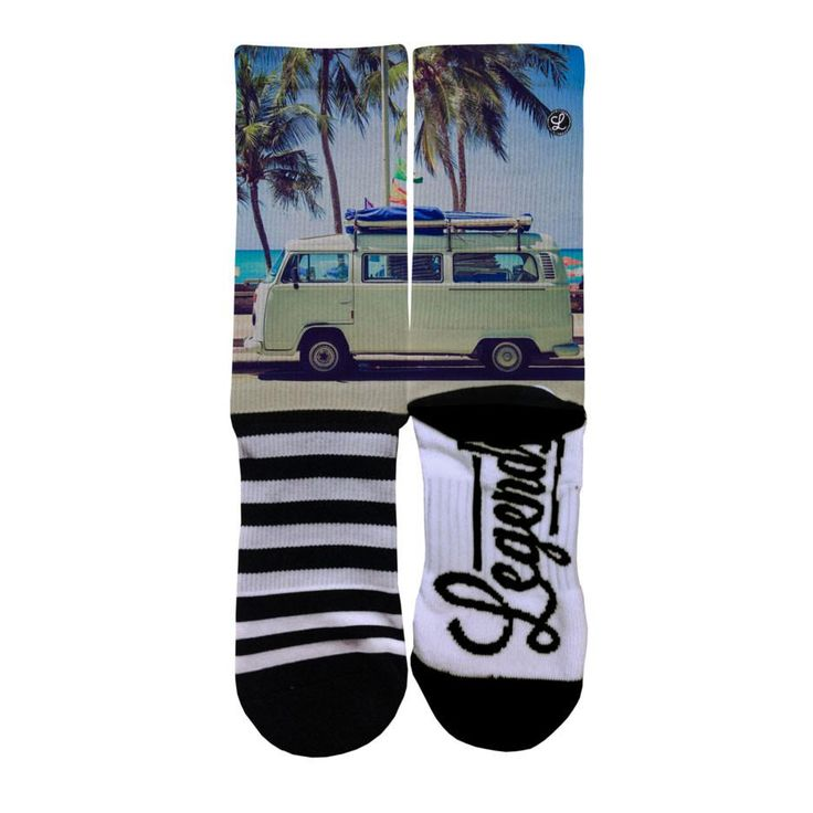 Legends Sock Company Icon Originals Locals Only MONTAUK: BUS VW Crew Socks