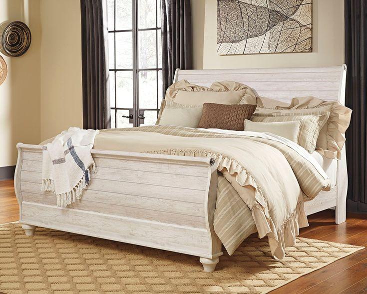 Willowton King Sleigh Bed   Farmhouse bedroom decor ...