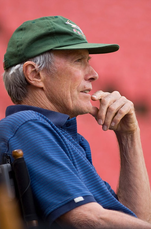 Clint Eastwood on the set of Invictus