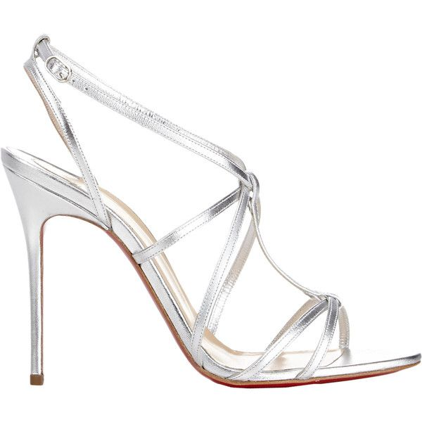 Christian Louboutin Youpiyou Sandals ($825) ❤ liked on Polyvore featuring shoes, sandals, heels, silver, ankle strap stilettos, ankle strap sandals, strappy heel sandals, strap heel sandals i heels stilettos