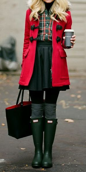 Hunter boots *-*-read coat, green skirt, and that plaid blouse! i LOVE this outfit...I really would like to look like this girl.: