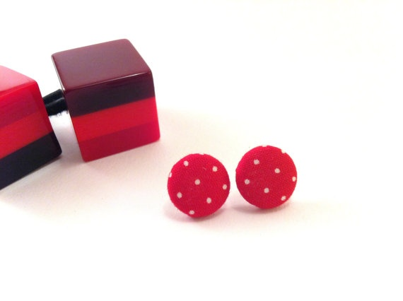 Red dots covered button earrings