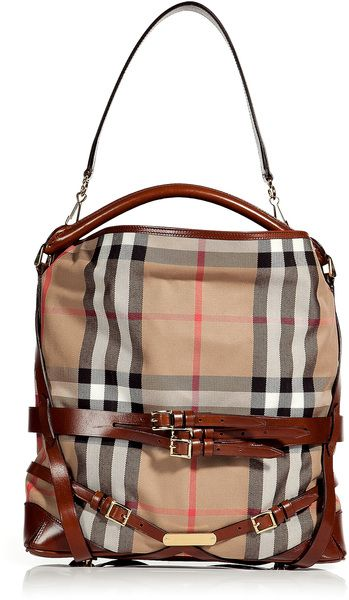 BURBERRY LONDON  Dark Tan Bridle House Check Medium Gosford Hobo