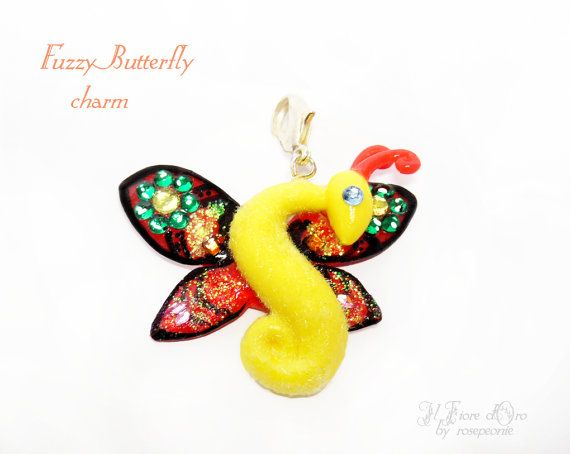 Pendant Fuzzy Butterfly OOAK charm with rhinestones and glitter, by rosepeonie at ilFioredOro