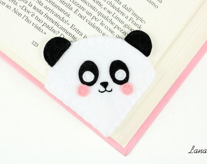 Panda segnalibro ad angolo in feltro, un dolce pensiero per chi ama leggere, idea regalo divertente