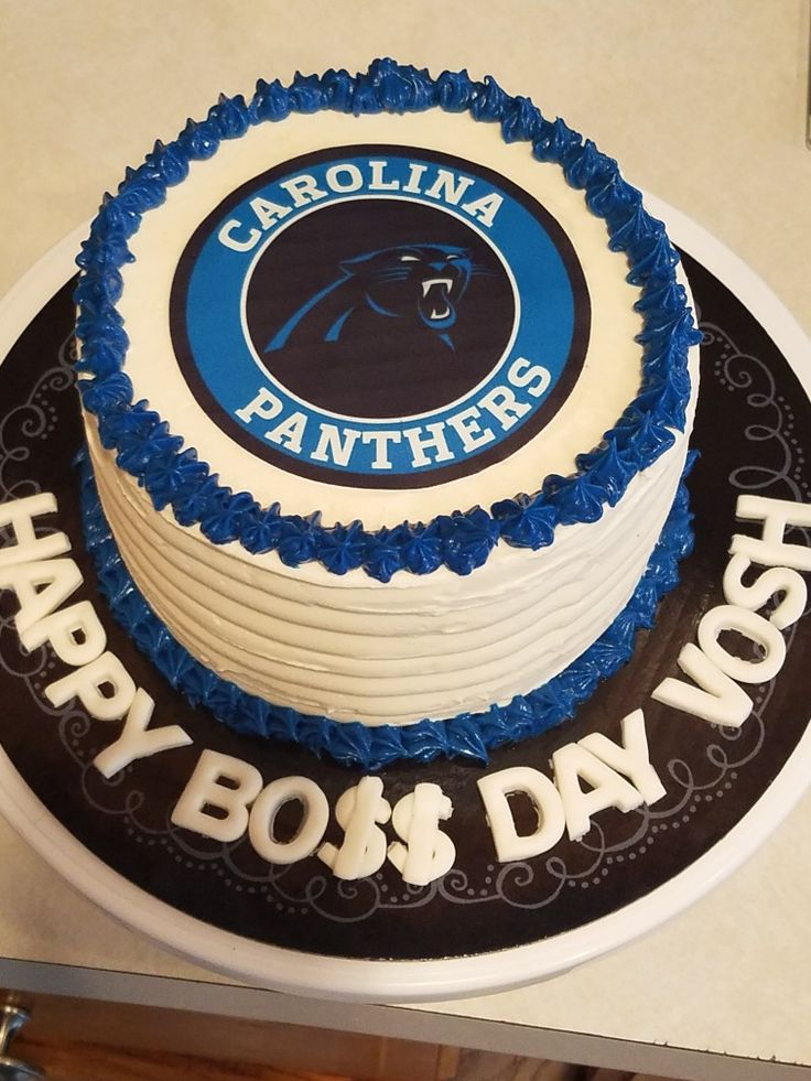 Carolina Panthers Chocolate Cake with Vanilla Buttercream! Edible Image