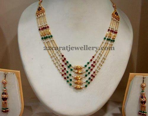Jewellery Designs: Multi Rows Fancy Pearl Necklace