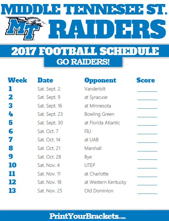 2017 Middle Tennessee St Blue Raiders Football Schedule