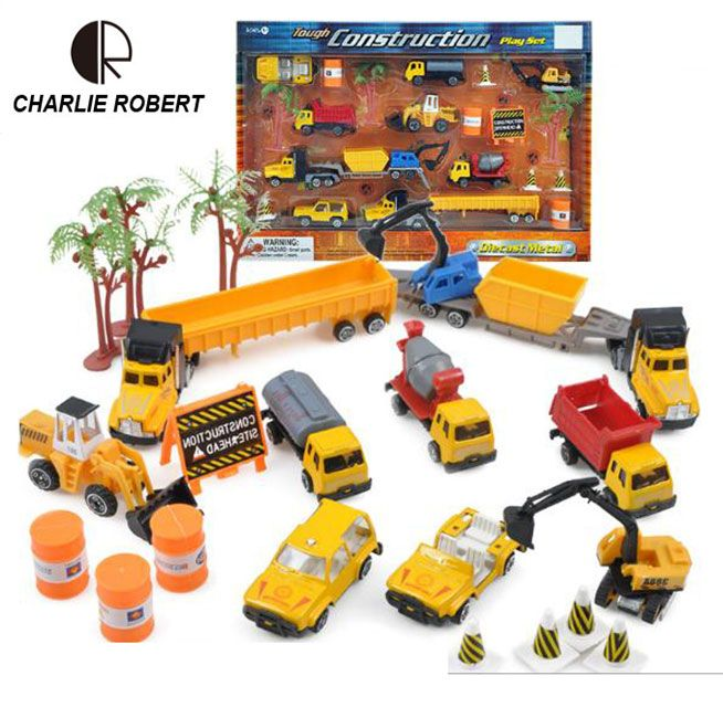 2017 Mini Diecasts Car Sets Alloy Construction Vehicle Engineering Police Car Truck Artificial Model Toys For Boy Kids HT3904