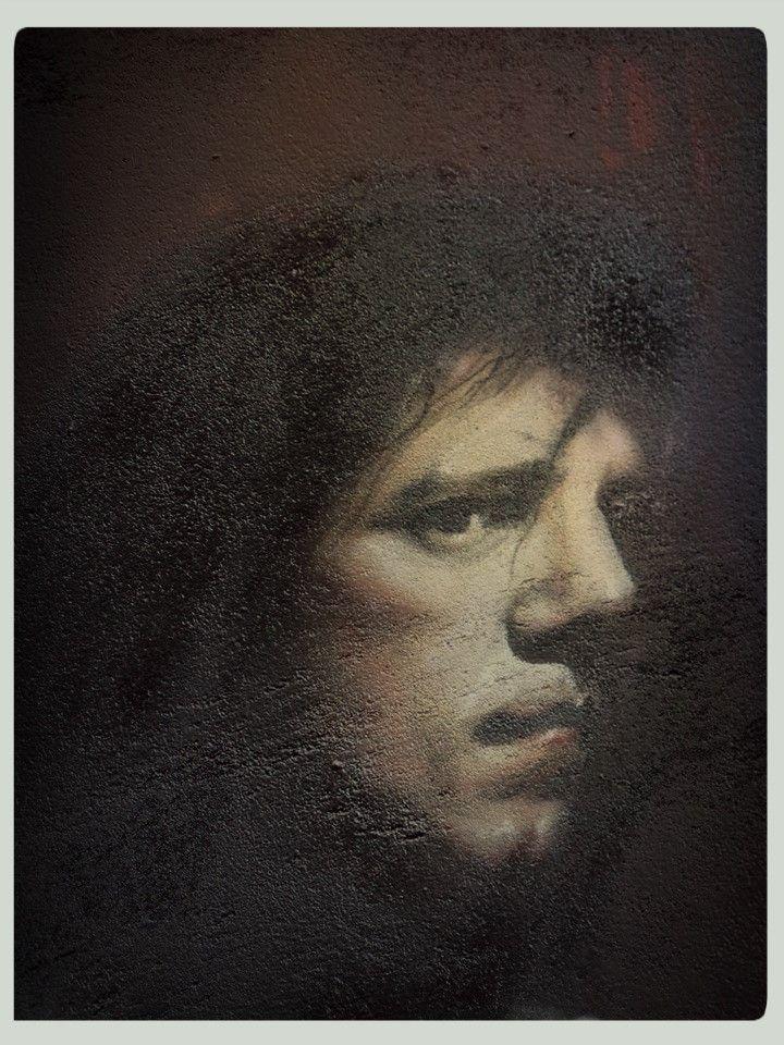 """Muurschildering in honour of/ ter ere van Ramses shaffy. Gemaakt door Lj vanT ( LjvanTuinen ) in Leeuwarden. """"Zoals altijd ben ik heel gelukkig treurig en treurig heel gelukkig"""". 2014, Close up, portret"""