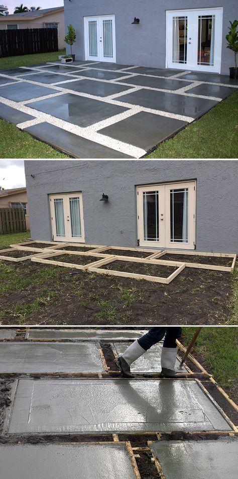 Voici une technique pour obtenir une terrasse originale, alliant des grandes dalles faites sur place à des joints larges en gravillons.