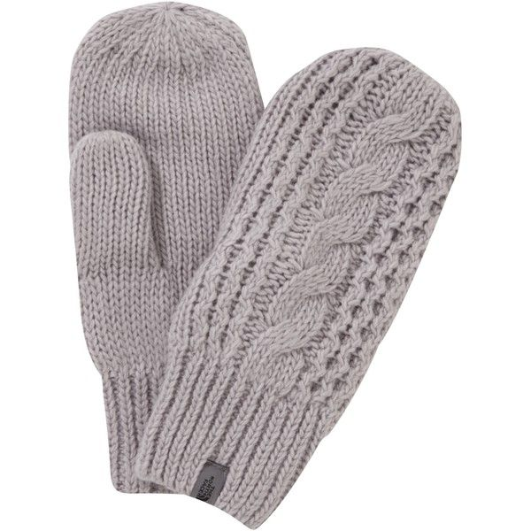 The North Face Cable Knit Women's Mittens , Silver ($42) ❤ liked on Polyvore featuring accessories, gloves, silver, mitt and the north face