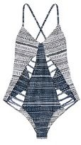 Mara Hoffman 'Peacock Stripe' print braided lattice swimsuit