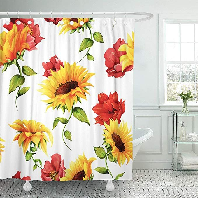Emvency Shower Curtain Green Of Sunflowers Pomegranate Buds On