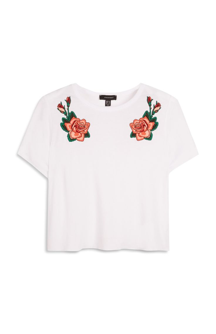 Primark - White Embroidered Badge T-Shirt