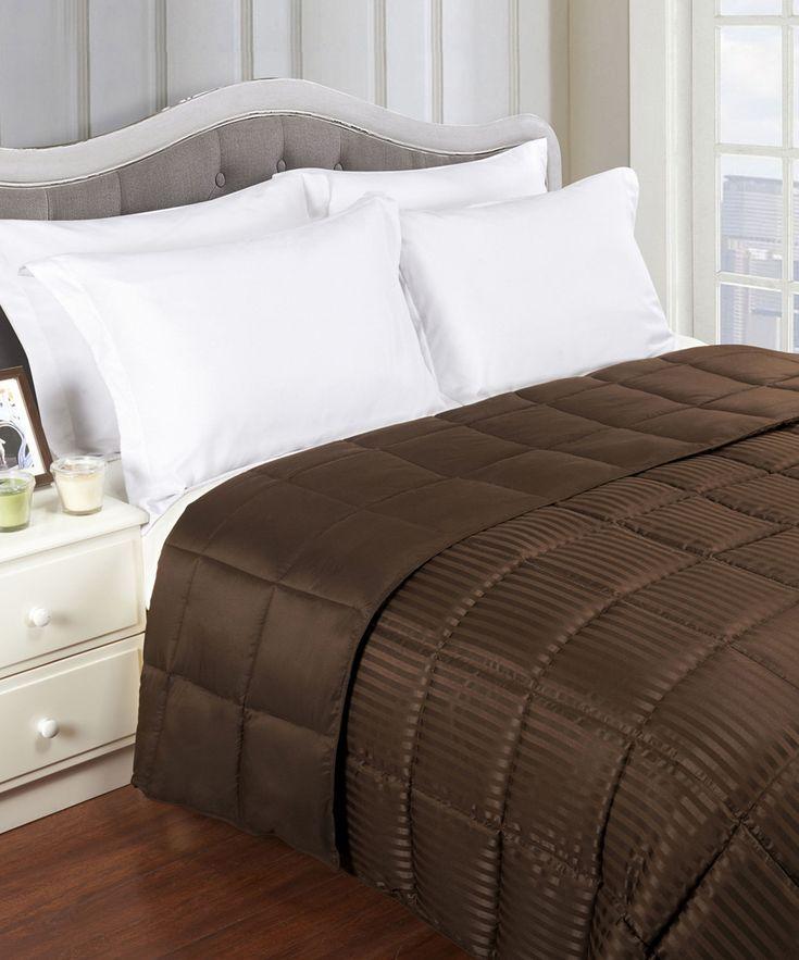 Chocolate Down Alternative Reversible Microfiber Blanket