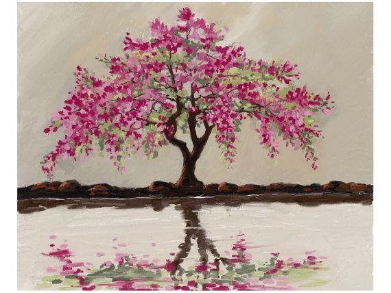 arbol en flor,rosa,magenta,lago,cuadro sobre lienzo de 3cm de grosor,decoracion,hogar,mueble,romantico,femenino