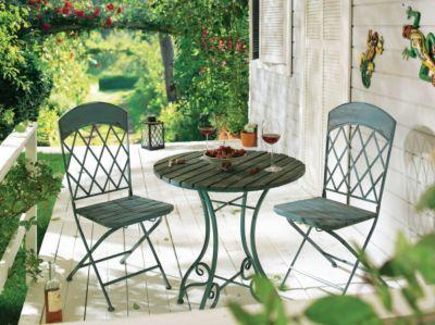Unique Praktisches Set aus einem antikblauen Metall Holz Mix Details ein Tisch zwei St hle die St hle sind klappbar Ma e Tisch ca cm ca