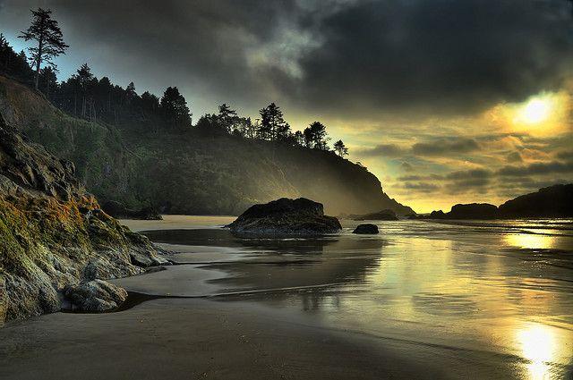 Long Beach, Sunset Clouds, Washington State