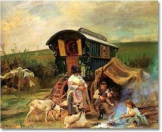 """The Gypsies arrived in Europe during the late 15th and early 16th centuries. They were descended from an ancient warrior class from India.  They migrated through Persia (Iran), Armenia and eventually to Europe. Today, there are over 10 million Gypsies in Europe, mainly in Romania, Hungary, Bulgaria, and Spain.  Their dark coppery skin and black hair, and exotic clothing  led people to believe that they were from Egypt, and were called """"Gyptians"""" and eventually Gypsies."""