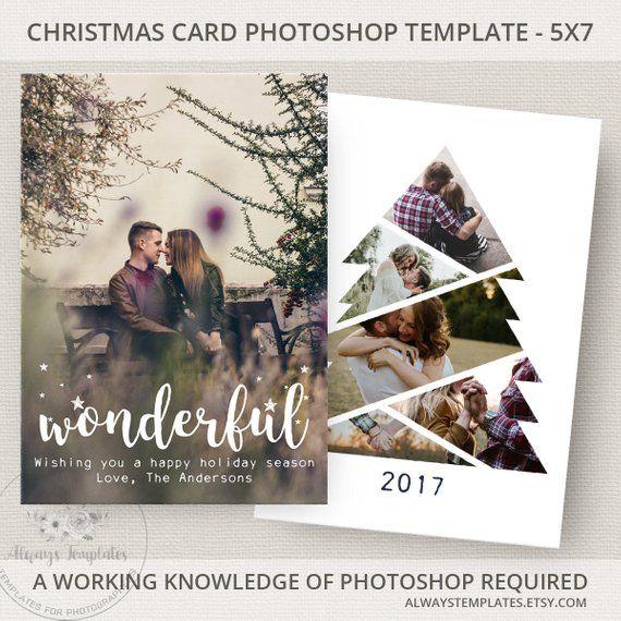 Photo Christmas Card Template Christmas Tree Card Template Etsy Photoshop Christmas Card Template Holiday Card Template Photo Card Template