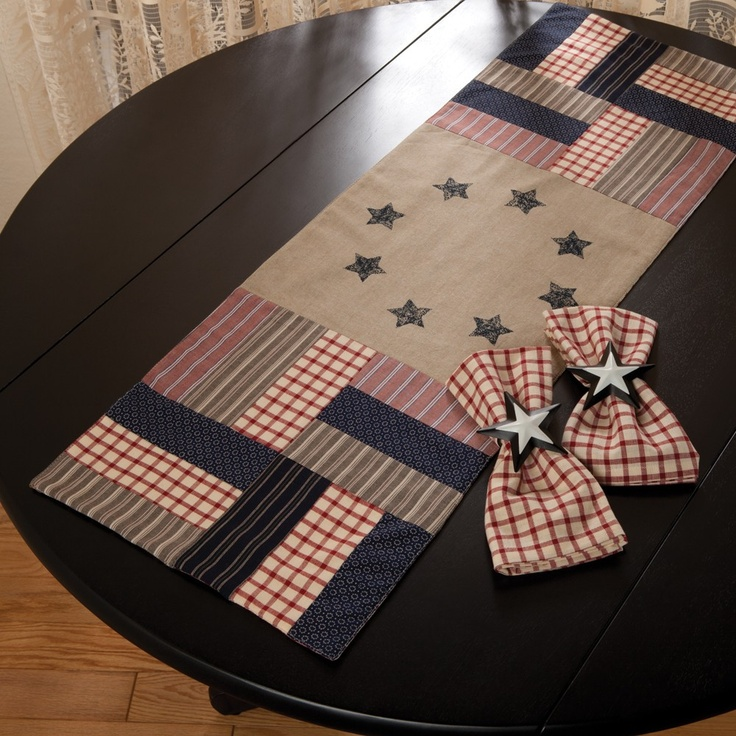 """Americana Star Table Runner   Sturbridge Yankee Workshop MY NOTES: It says """"site not found"""" when I click on it, but I don't need a pattern to make this.  It would look good in my living room."""