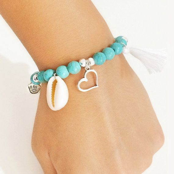 bohemian jewelry beach gemstone bracelet shell by christelboutique