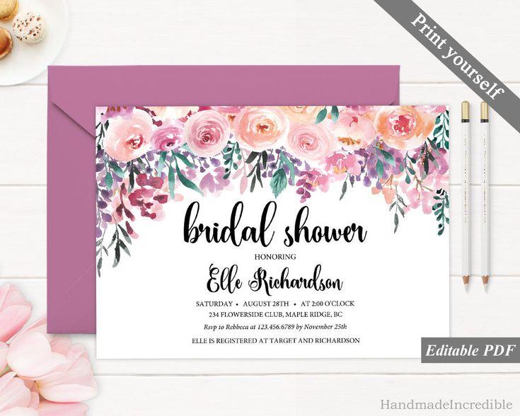 Floral Bridal Shower Invitation Template. Printable Pink Flower Purple Watercolor Bridal Shower Invitation. Spring Blush Calligraphy PDF http://etsy.me/2Cn4DwX #papergoods #pink #bridalshower #purple #bridal #shower #invitation #template #flower