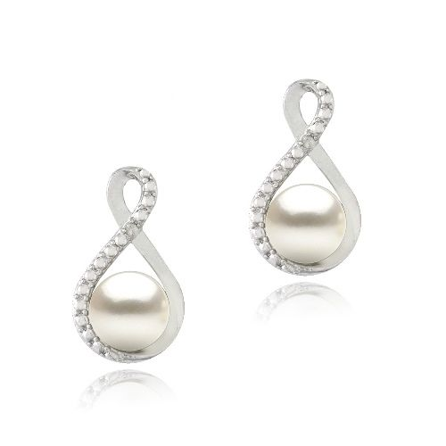Sterling Silver Diamond Accent Freshwater Cultured Pearl Infinity Drop Stud Earrings