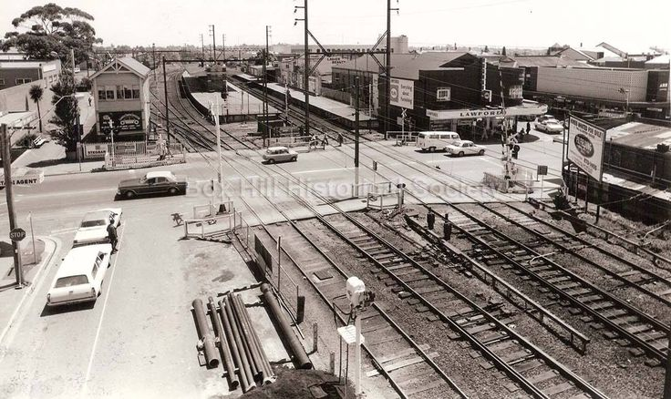 Bird's eye view of the Railway line at Station Street in the 70s or early 80s