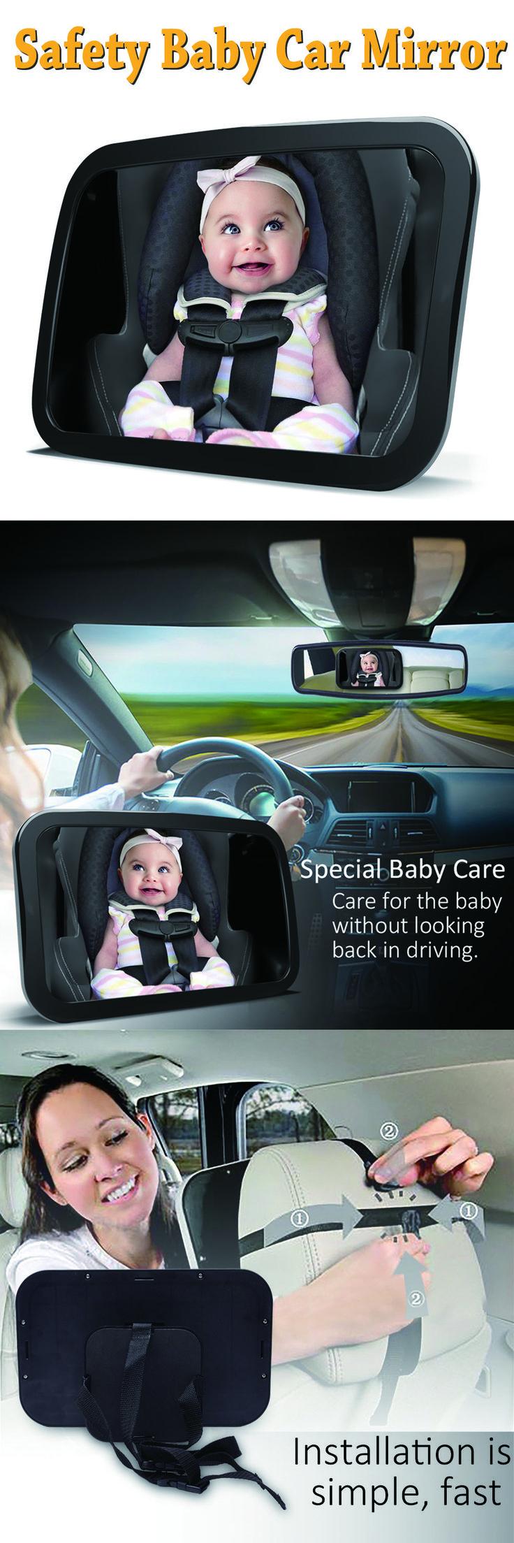 Espejo de coche de bebé de seguridad para el asiento trasero, actualizado a gran altura y establo trasero frente a asiento de coche Bebé a la vista Shatterproof espejo con paño de limpieza